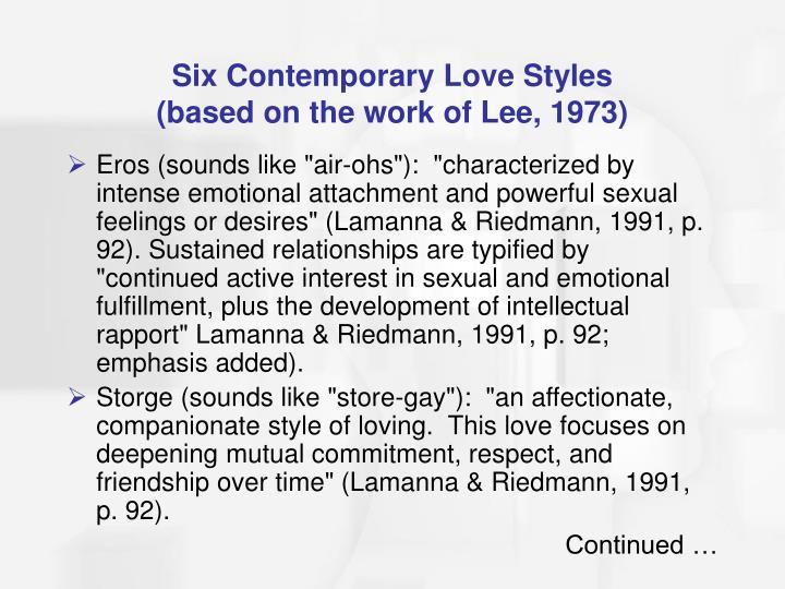 Six Contemporary Love Styles