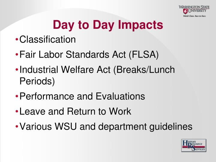 Day to Day Impacts