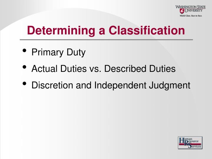 Determining a Classification