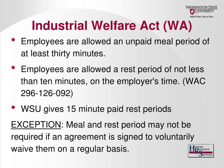 Industrial Welfare Act (WA)