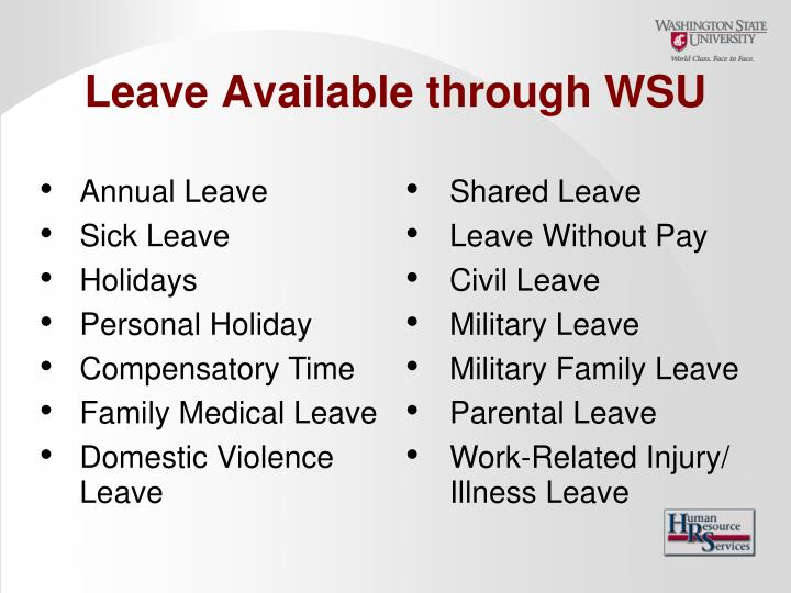 Leave Available through WSU