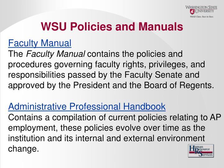 WSU Policies and Manuals