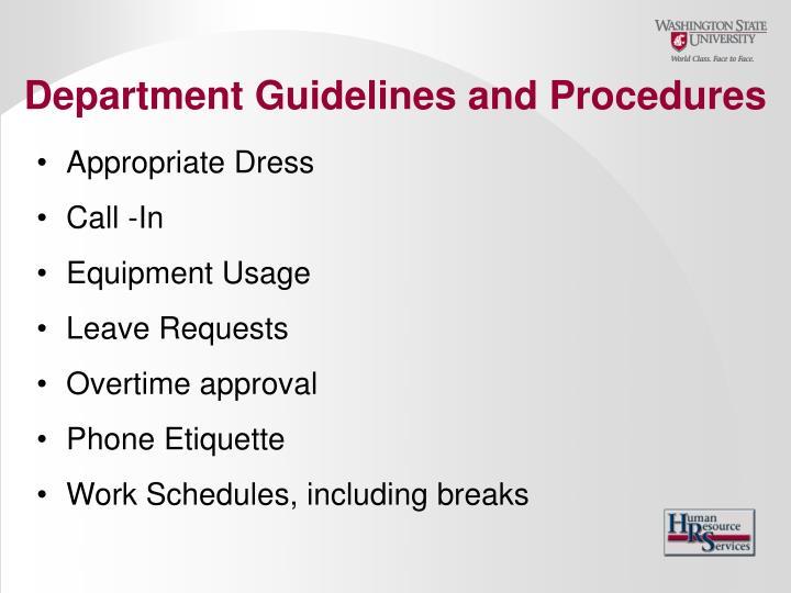 Department Guidelines and Procedures