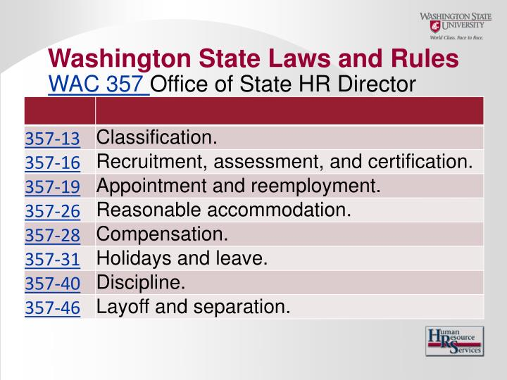 Washington State Laws and Rules