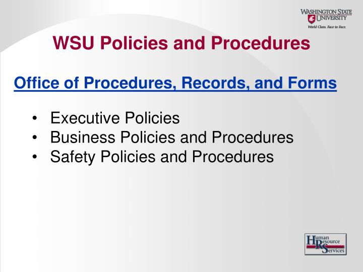 WSU Policies and Procedures
