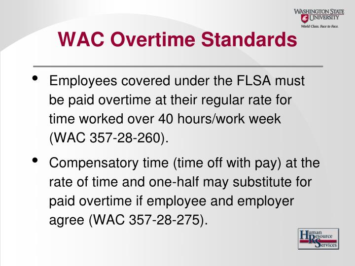 WAC Overtime Standards