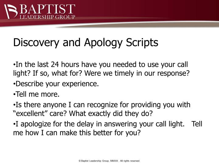 Discovery and Apology Scripts