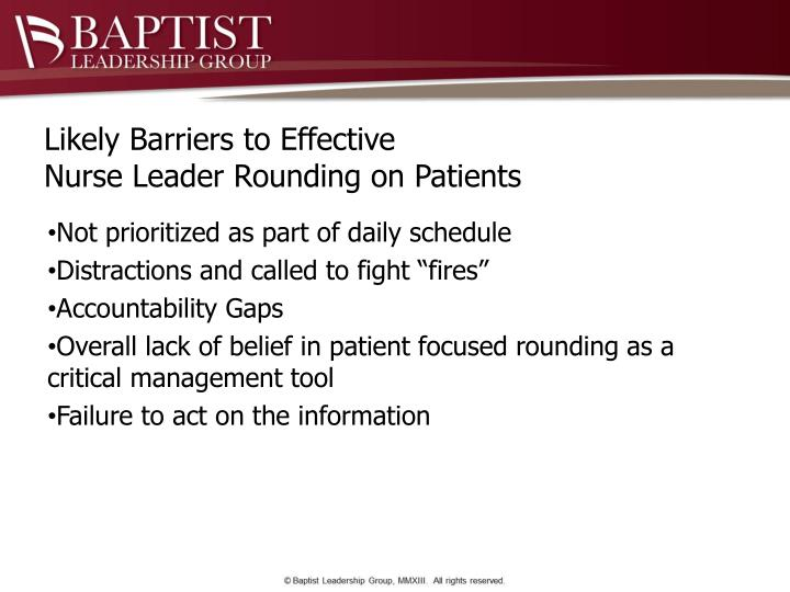 Likely Barriers to Effective