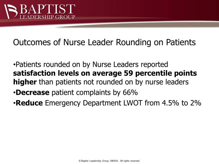 Outcomes of Nurse Leader Rounding on Patients