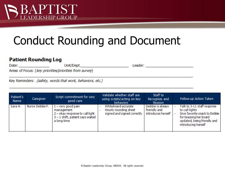 Conduct Rounding and Document