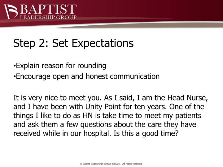 Step 2: Set Expectations
