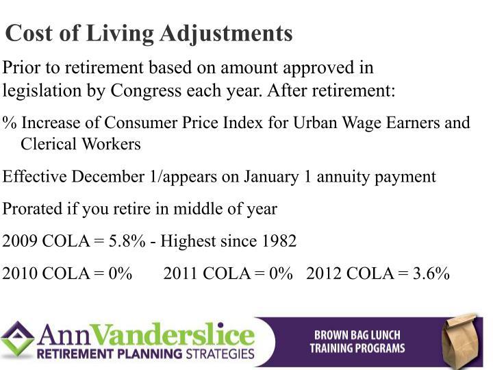 Cost of Living Adjustments