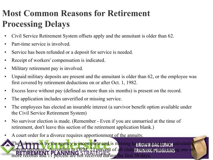 Most Common Reasons for Retirement Processing Delays