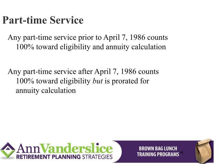 Part-time Service