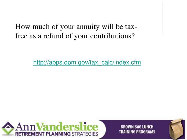 How much of your annuity will be tax-free as a refund of your contributions?