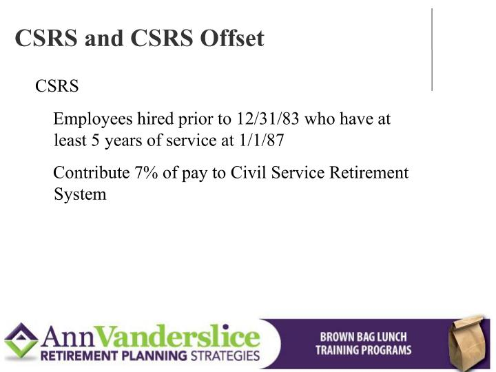 CSRS and CSRS Offset
