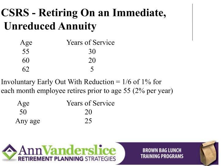 CSRS - Retiring On an Immediate,
