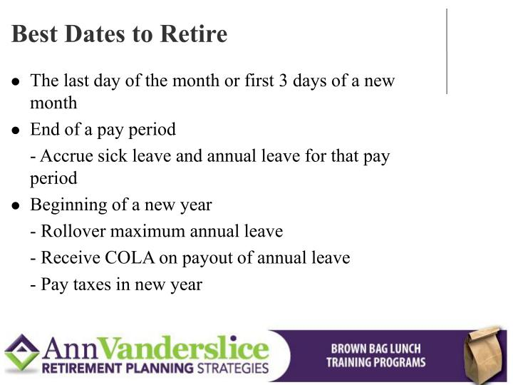 Best Dates to Retire