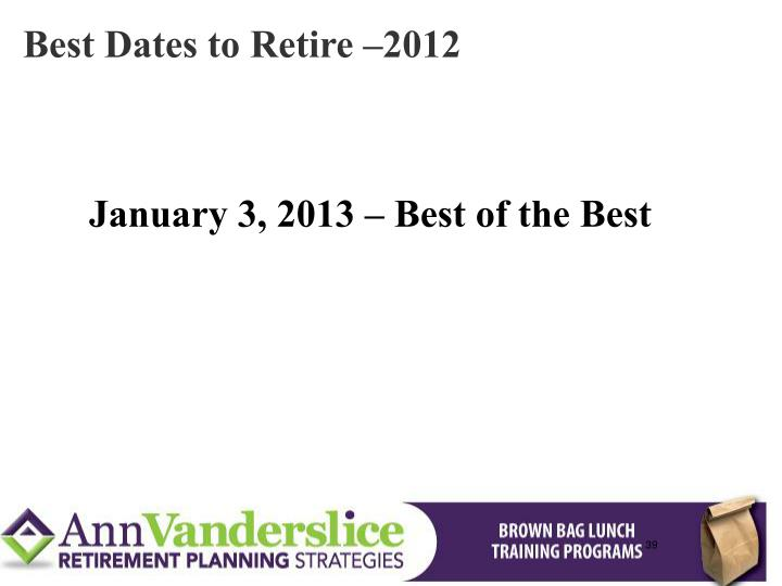 Best Dates to Retire –2012