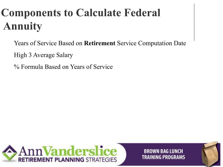 Components to Calculate Federal