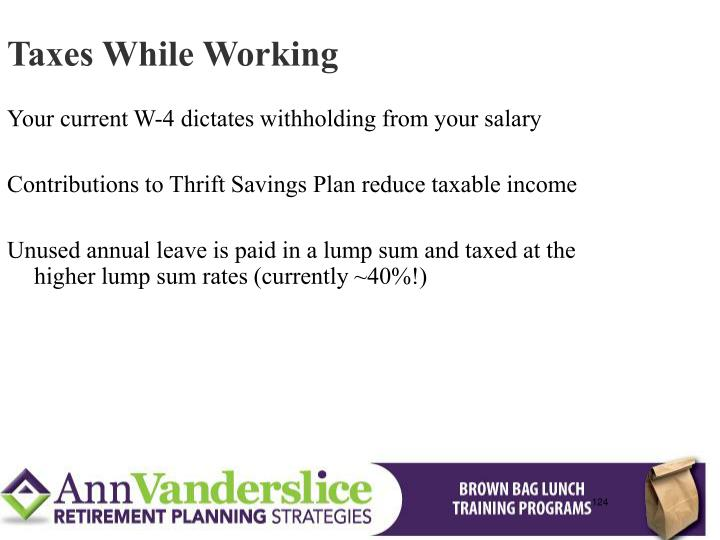 Taxes While Working