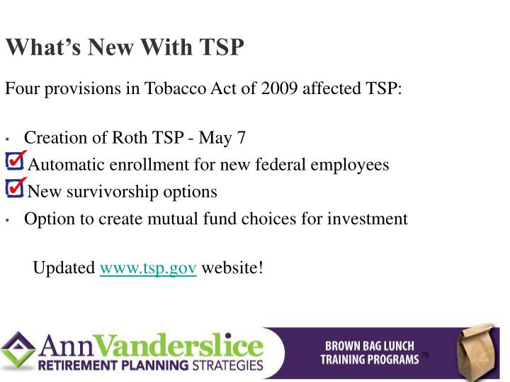 What's New With TSP