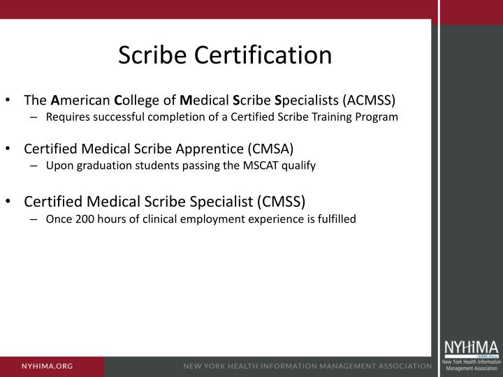 Scribe Certification