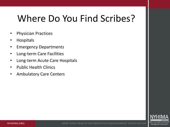Where Do You Find Scribes?