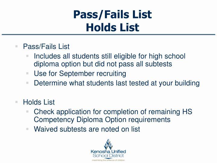 Pass/Fails List
