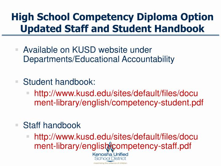 High School Competency Diploma Option