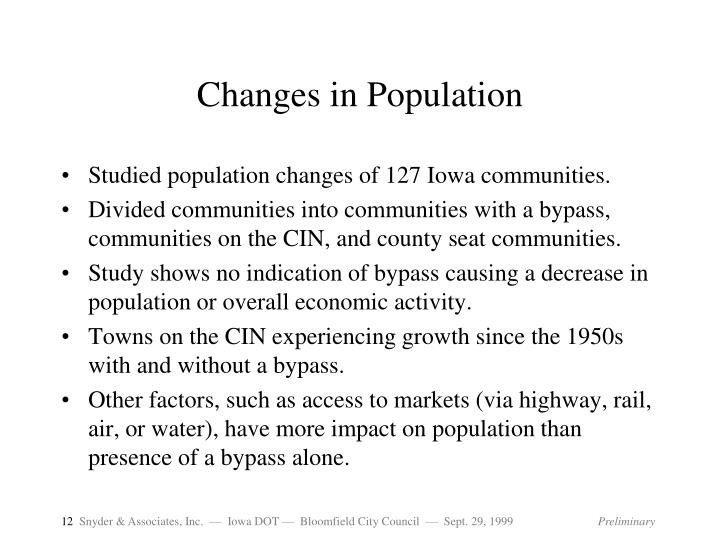 Changes in Population