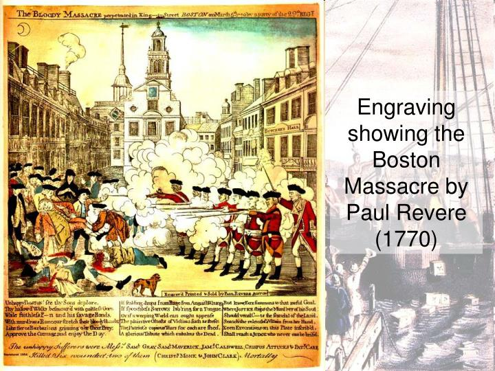 Engraving showing the Boston Massacre by Paul Revere (1770)