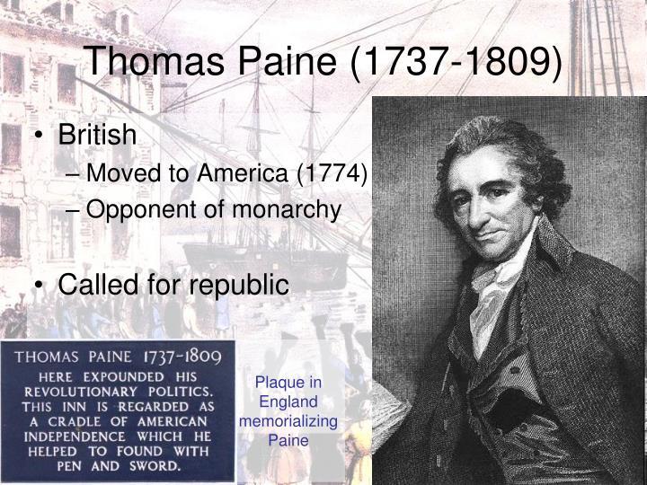 Plaque in England memorializing Paine