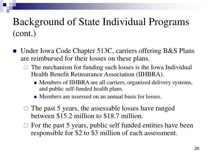 Background of State Individual Programs