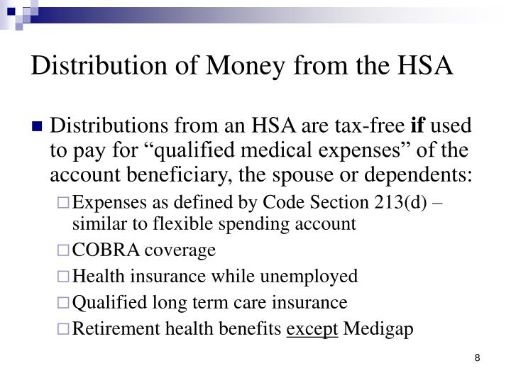 Distribution of Money from the HSA