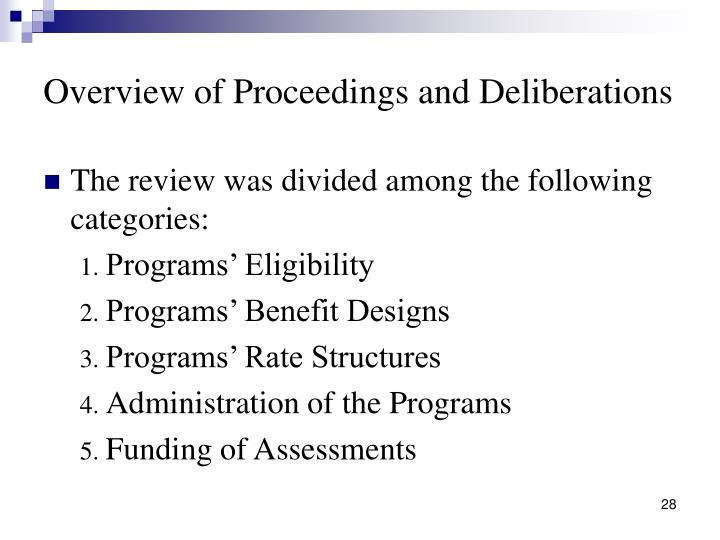 Overview of Proceedings and Deliberations