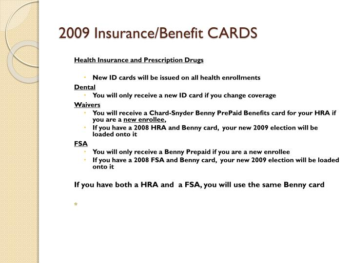 2009 Insurance/Benefit CARDS