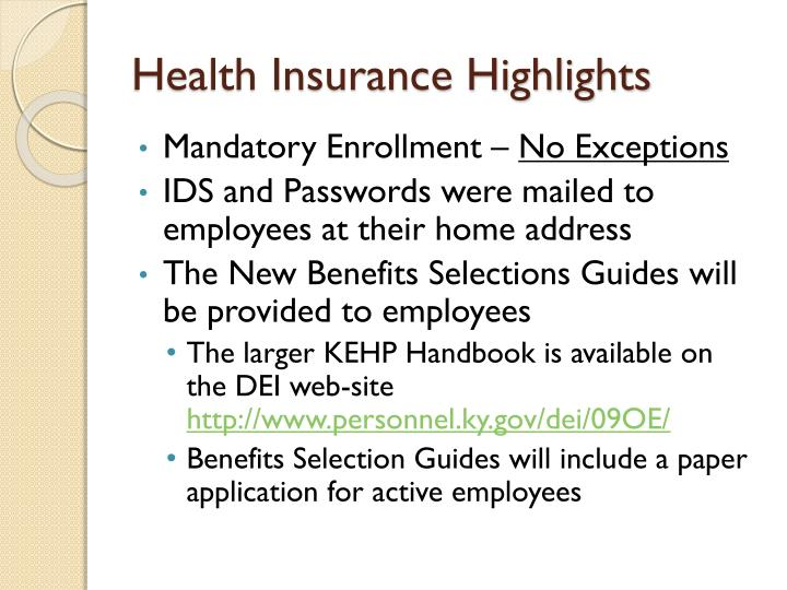 Health Insurance Highlights