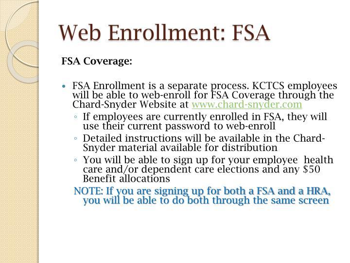 Web Enrollment: FSA