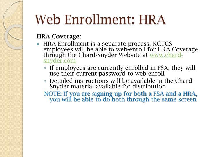 Web Enrollment: HRA