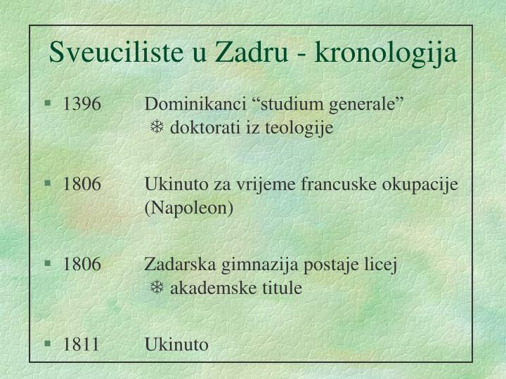 Sveuciliste u Zadru - kronologija