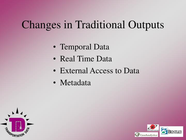 Changes in Traditional Outputs