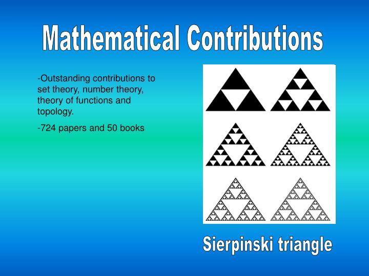 Mathematical Contributions