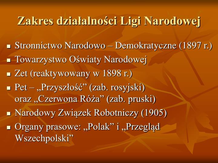 Zakres działalności Ligi Narodowej