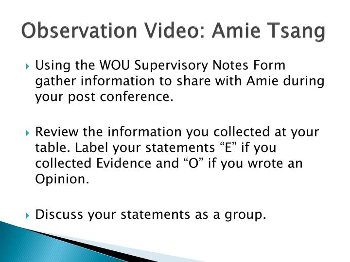 Observation Video: Amie Tsang