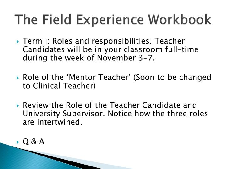 The Field Experience Workbook