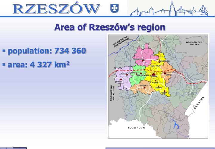 Area of Rzeszów's region