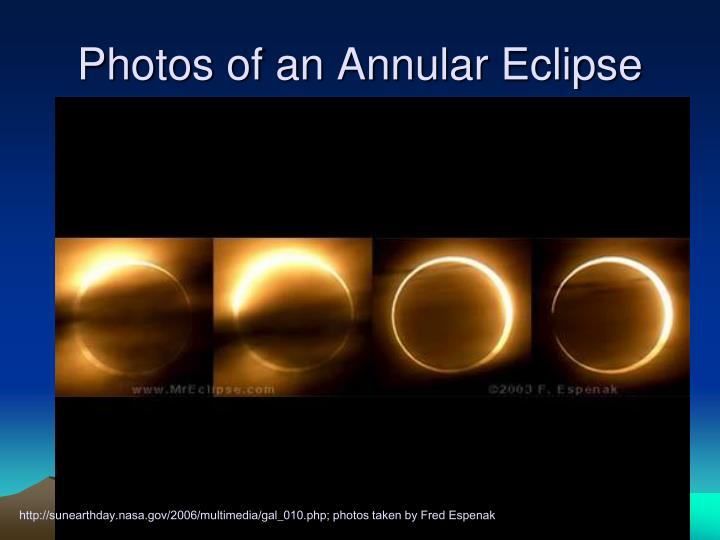 Photos of an Annular Eclipse