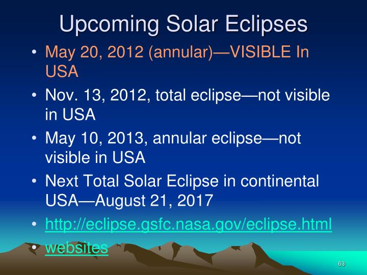 Upcoming Solar Eclipses