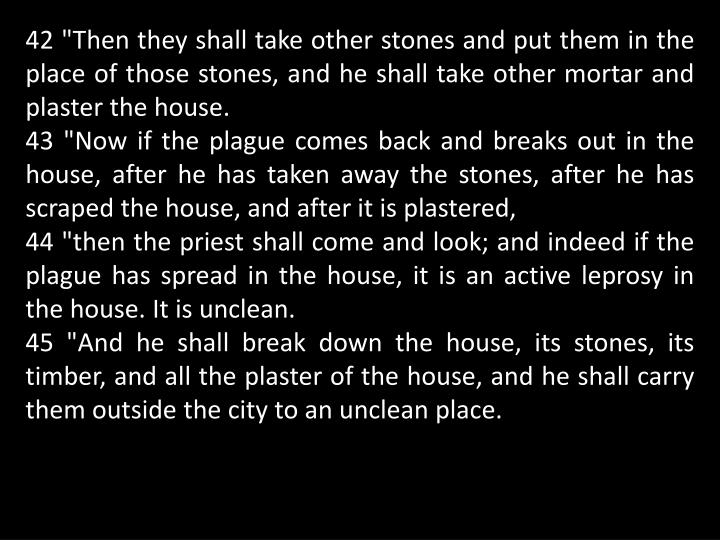 "42 ""Then they shall take other stones and put them in the place of those stones, and he shall take other mortar and plaster the house."